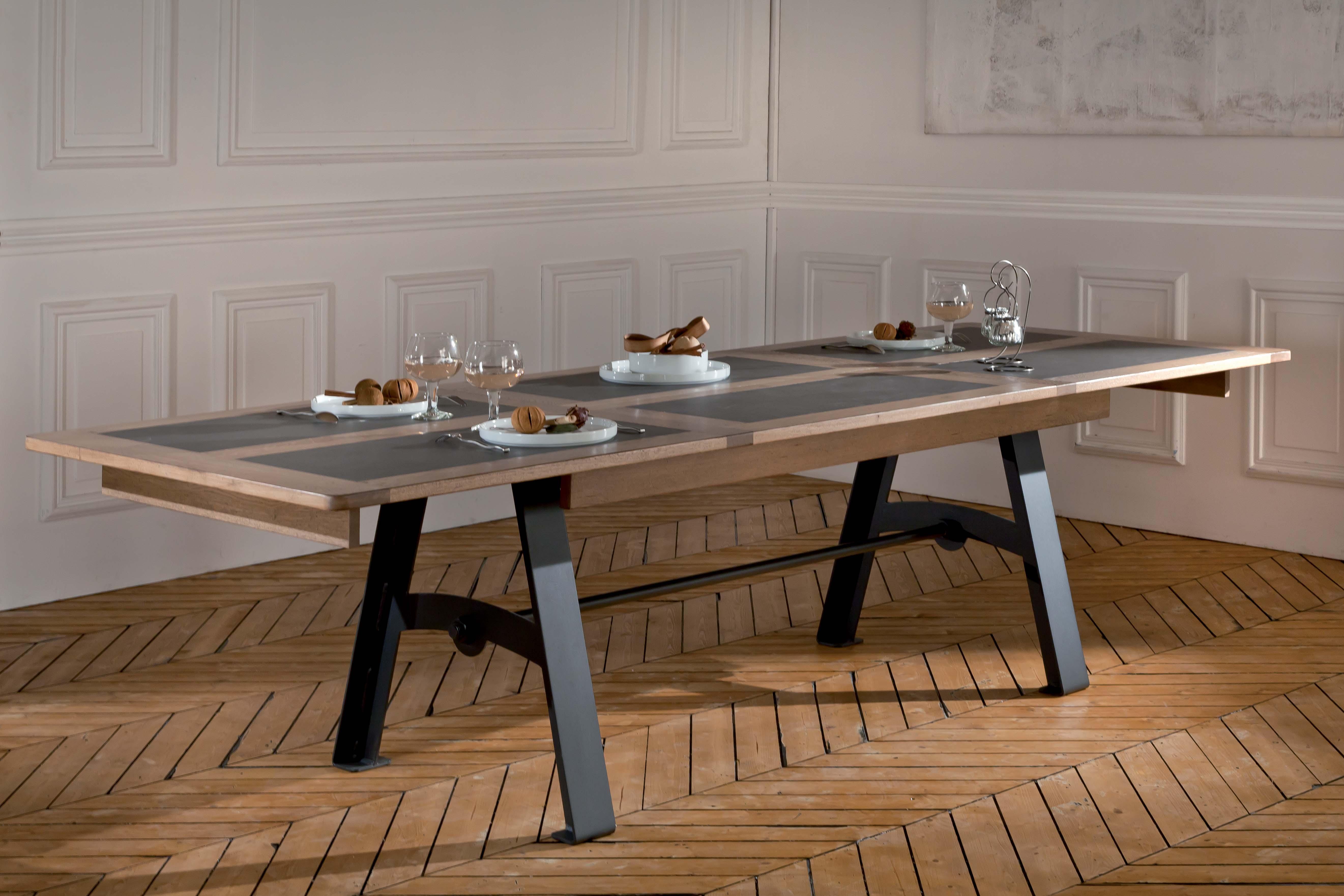 table pieds m tal avec allonge detre200m. Black Bedroom Furniture Sets. Home Design Ideas