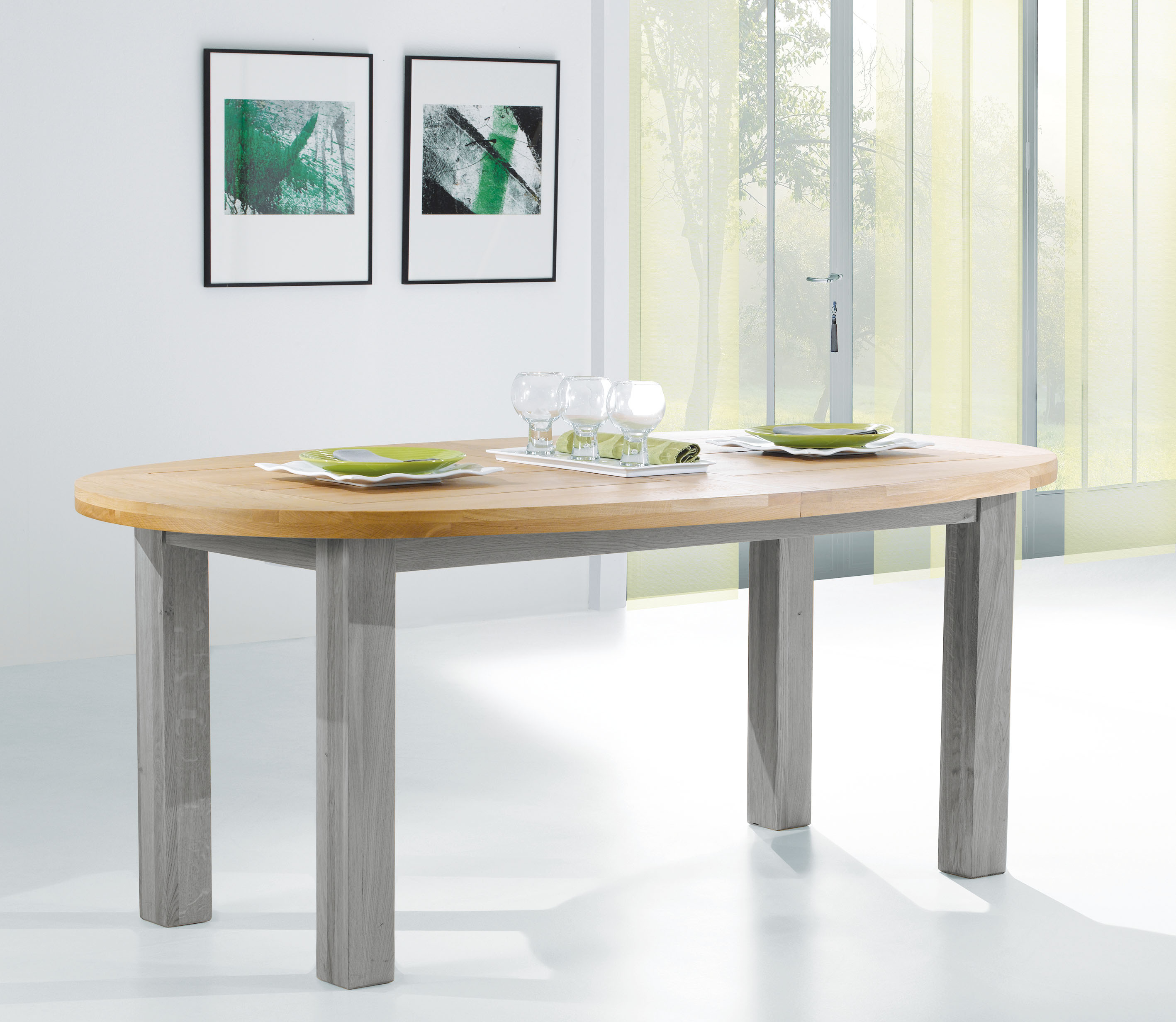 Table ovale whitney romance avec 1 ou 2 allonges 465dp for Table ovale allonge