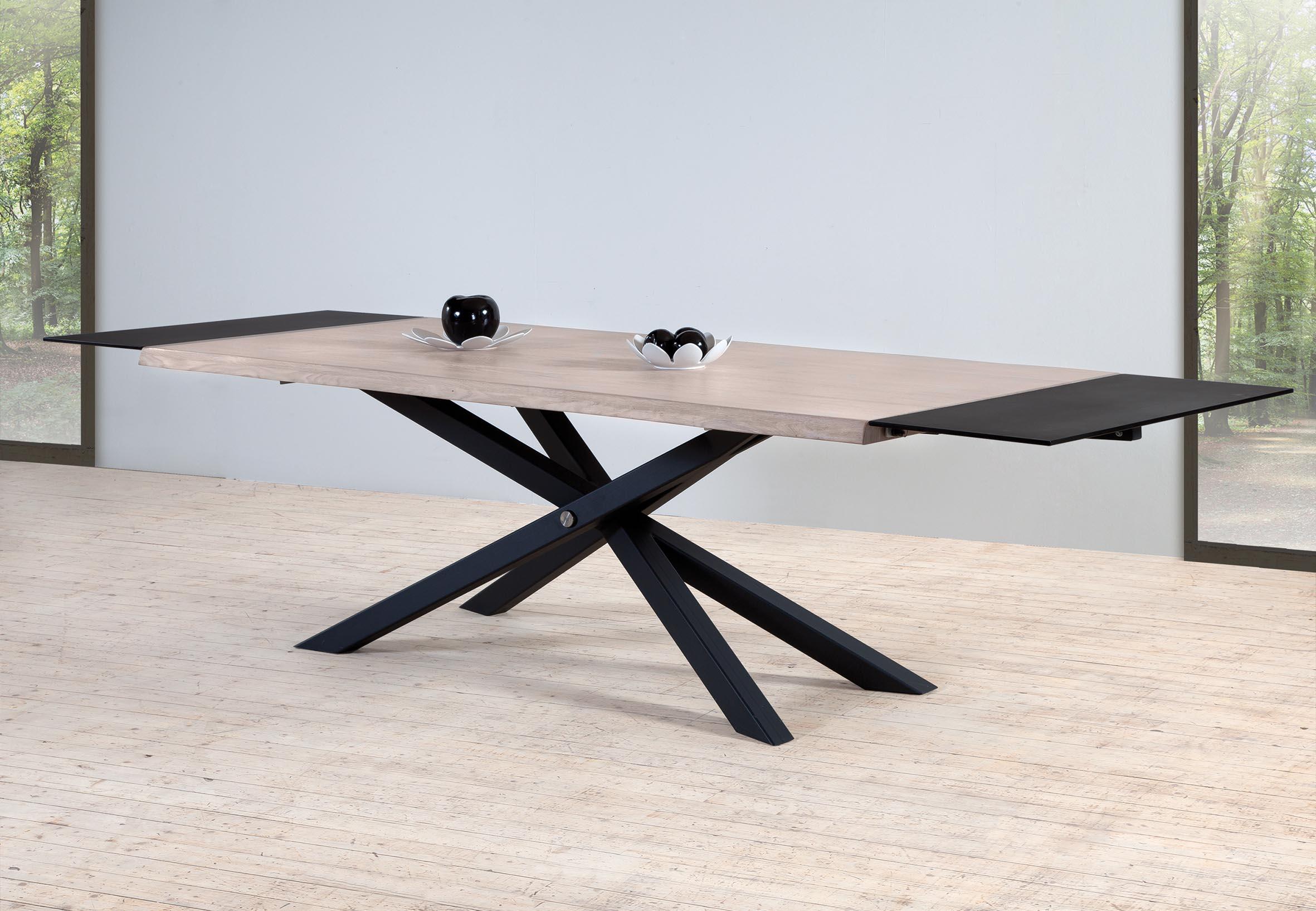 table avec pieds metal de 220 m avec 2 allonges zetre220. Black Bedroom Furniture Sets. Home Design Ideas