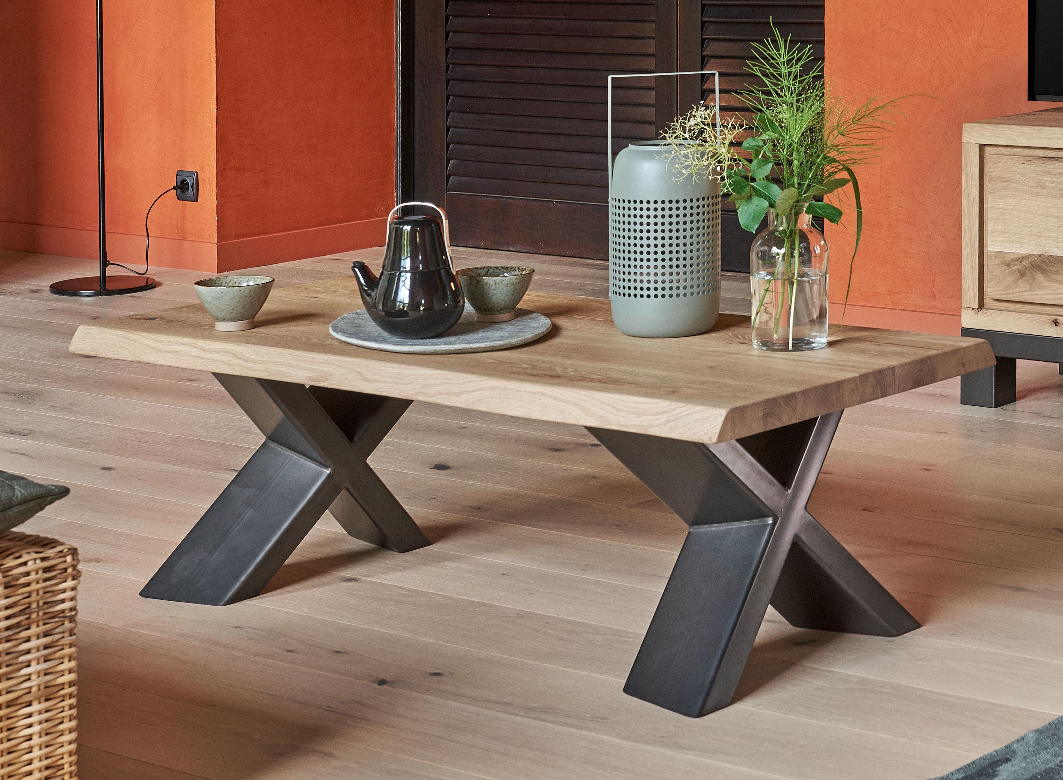 Table basse rectangulaire bois naturel et metal type