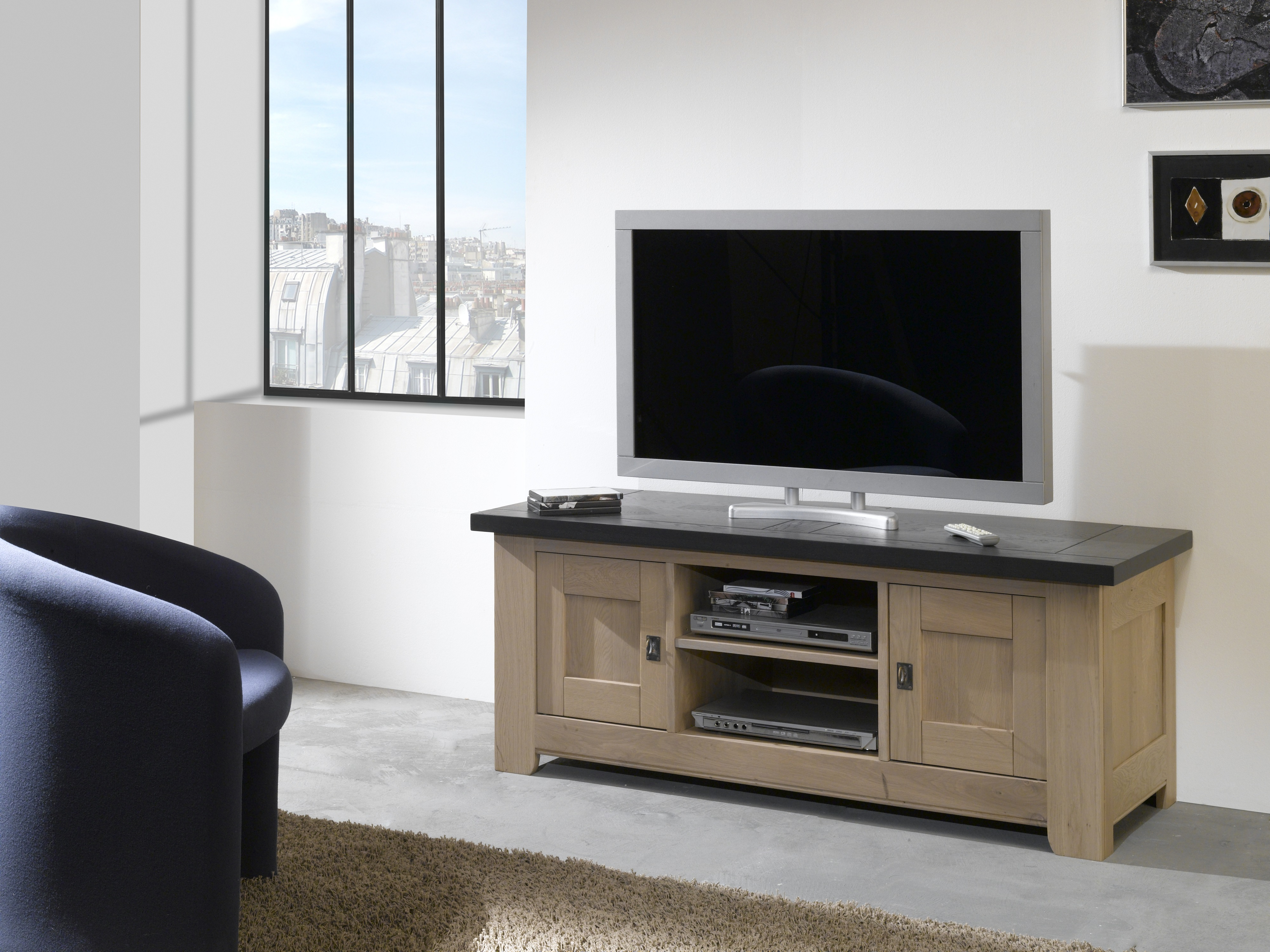 meuble tv whitney 2 portes et 1 niche w820n. Black Bedroom Furniture Sets. Home Design Ideas