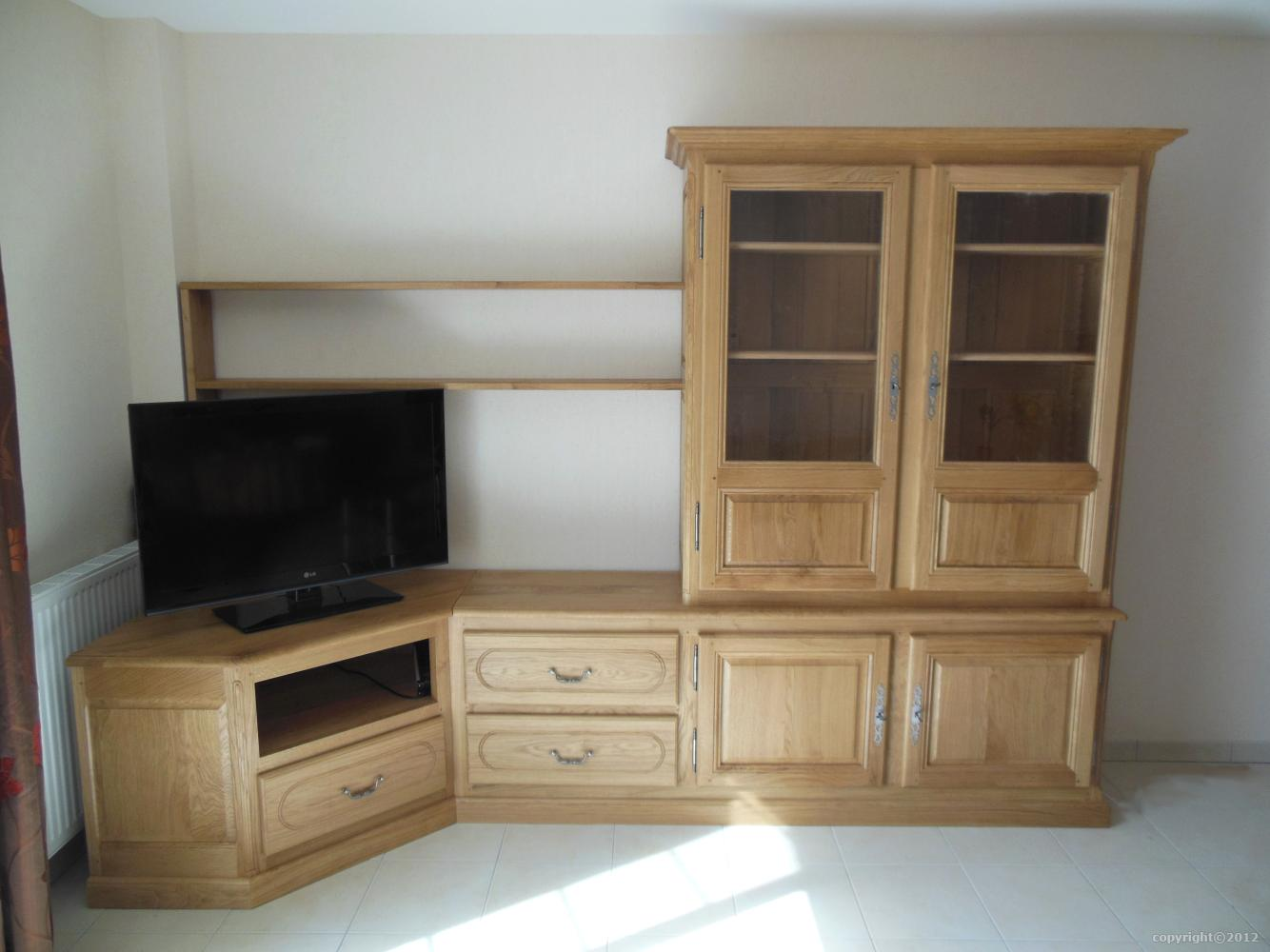 meuble tv hifi sur mesure en massif style contemporain. Black Bedroom Furniture Sets. Home Design Ideas