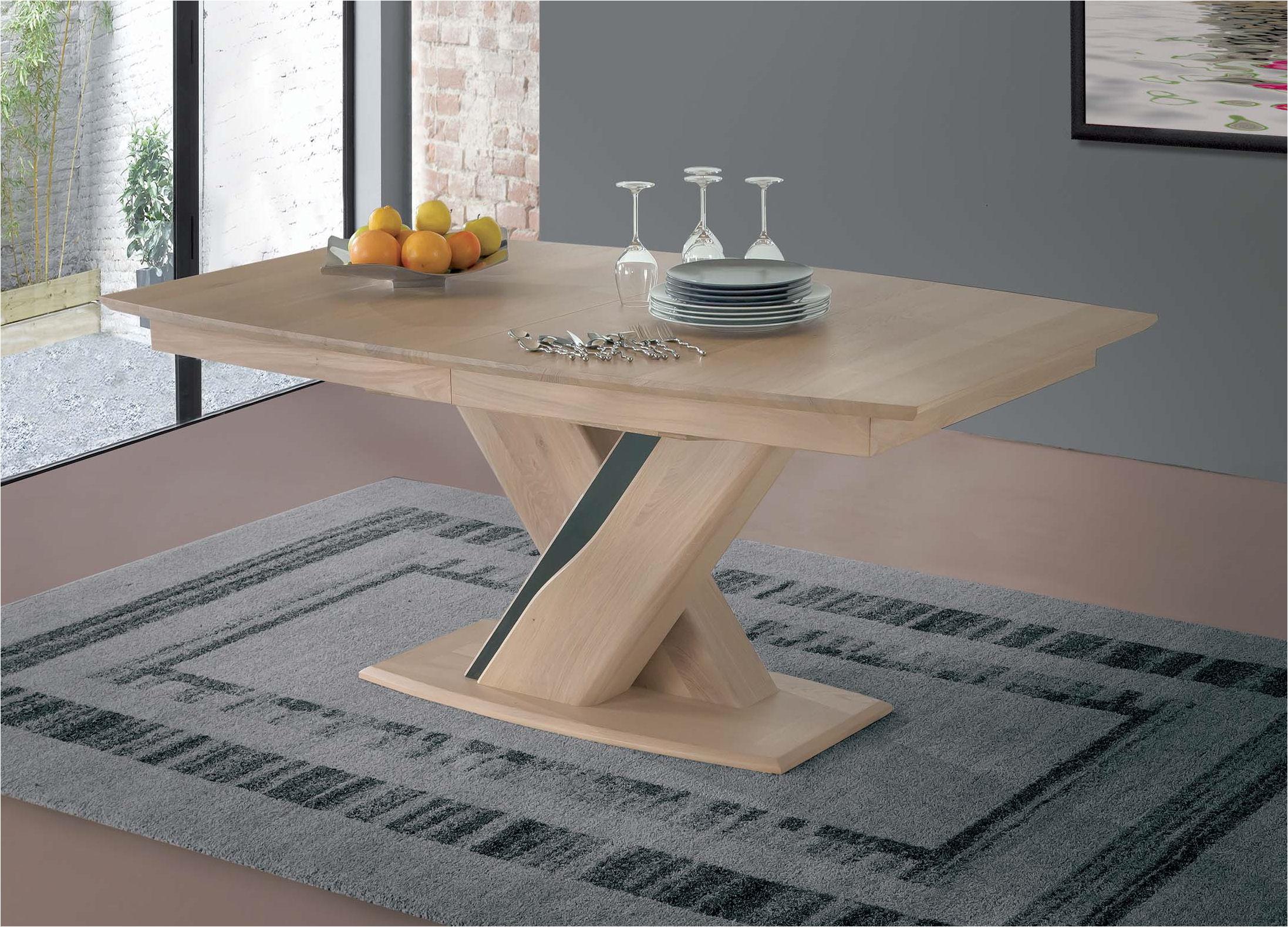 Table Contemporaine Bois Et Ceramiques Avec Allonges