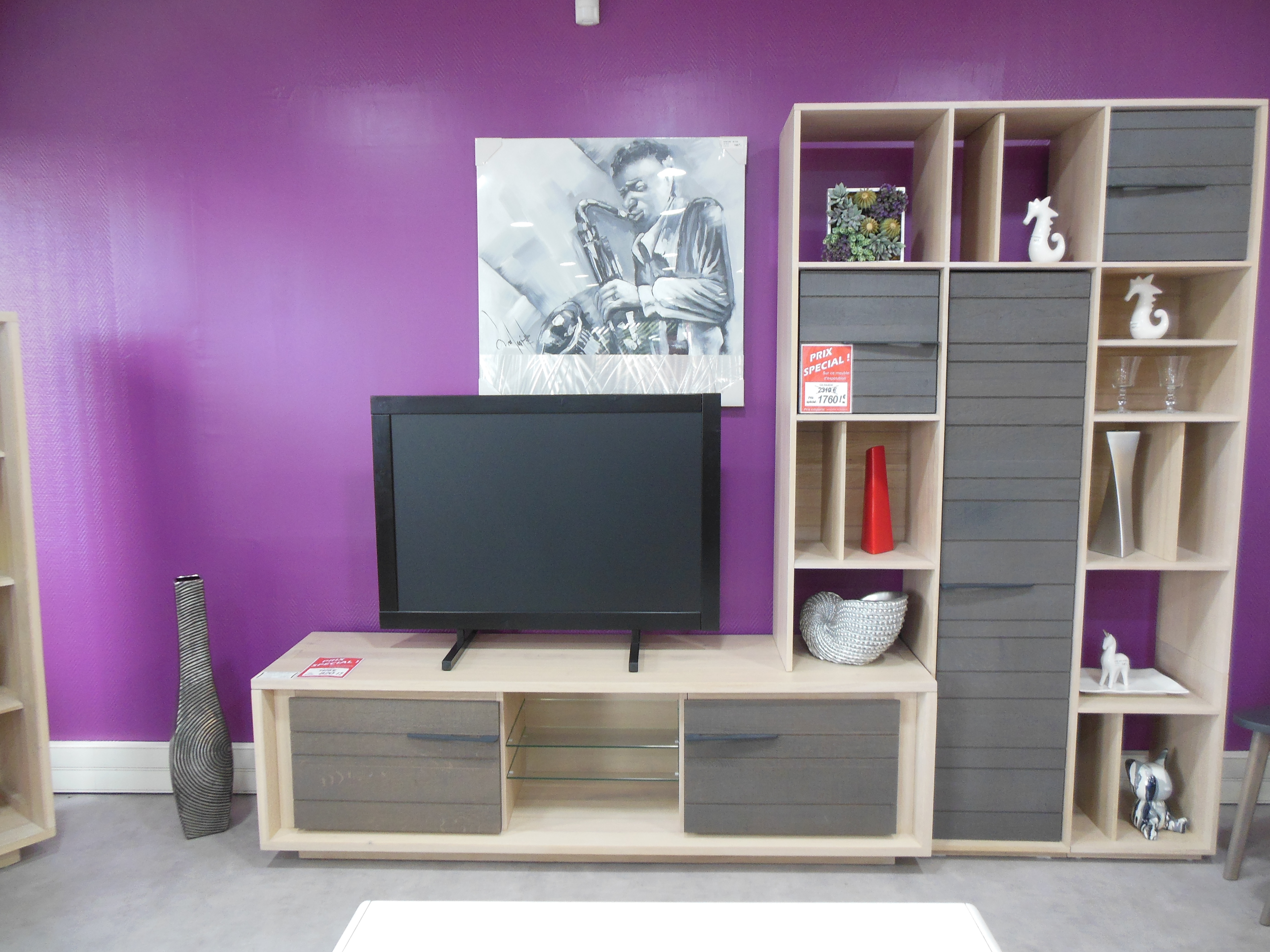Meuble Tv Bibliothèque Blanc agencement tv composé d'un meuble tv et d'une bibliothèque